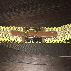 Yellow Braided Stretch Belt w/Brown Leather Buckle